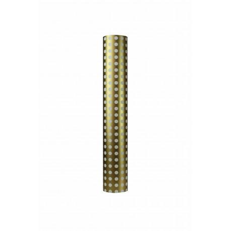 Papel de regalo estampado topos blancos fondo oro 62cm