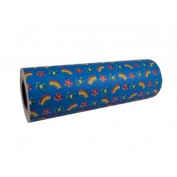 Papel de regalo estampado arco iris fondo azul 62cm