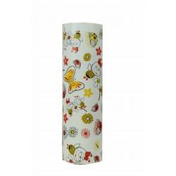 Papel de regalo infantil estampado insectos y flores fondo blanco 31cm