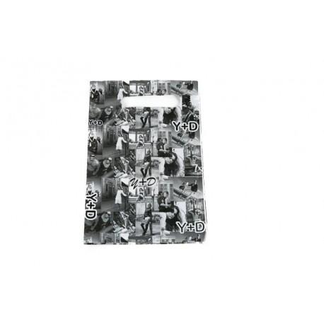 Bolsas de plástico asa troquelada fotos blanco/negro 16x25cm