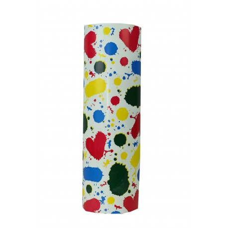 Papel de regalo estampado manchas de colores fondo blanco 31cm