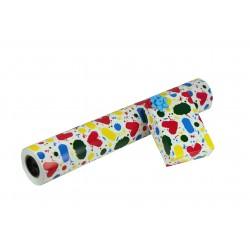 Papel de regalo estampado manchas de colores fondo blanco 62cm