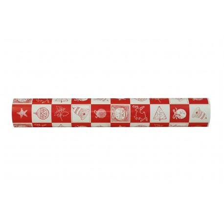 Papel de regalo estampado motivos navideños cuadrados rojo/blanco 62cm