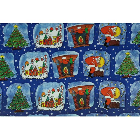 Papel de regalo estampado motivos navideños fondo azul 62cm