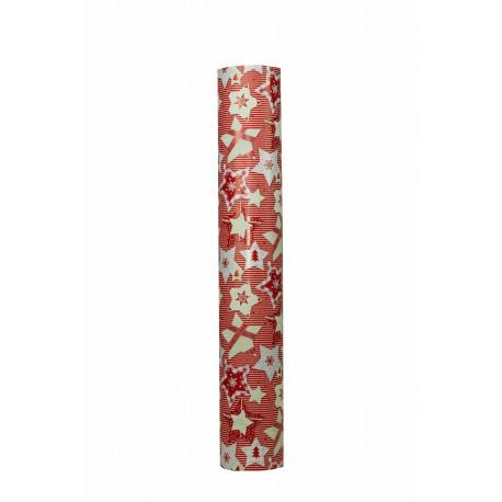 Papel de regalo estampado motivos navideños fondo rojo 62cm