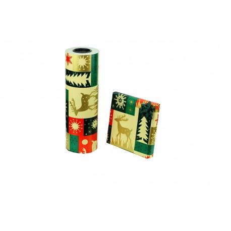 Papel de regalo estampado motivos navideños renos 31cm