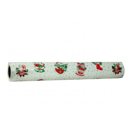 Papel de regalo estampado papé noel fondo blanco con estrellitas 62cm