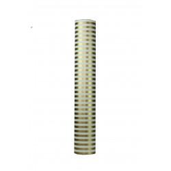 Papel de regalo estampado rayas oro/blanco 62cm