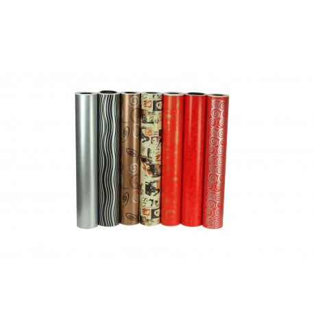 Papel de regalo estampado detalles plata fondo rojo 62cm