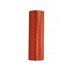 Papel de regalo estampado líneas doradas fondo rojo 31cm