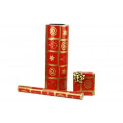 Papel de regalo estampado motivos navideños dorados fondo rojo 31cm
