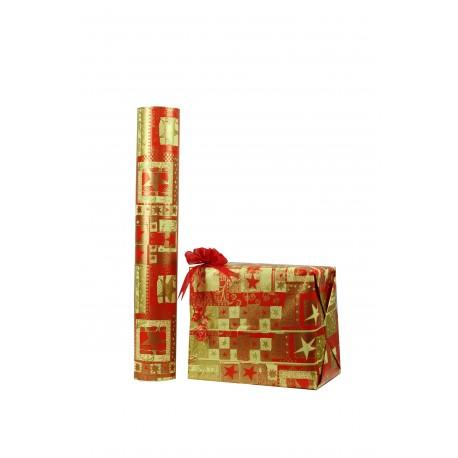 Papel de regalo estampado motivos navideños dorados fondo rojo 62cm
