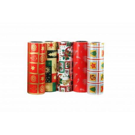 Papel de regalo estampado motivos navideños plata fondo rojo 31cm