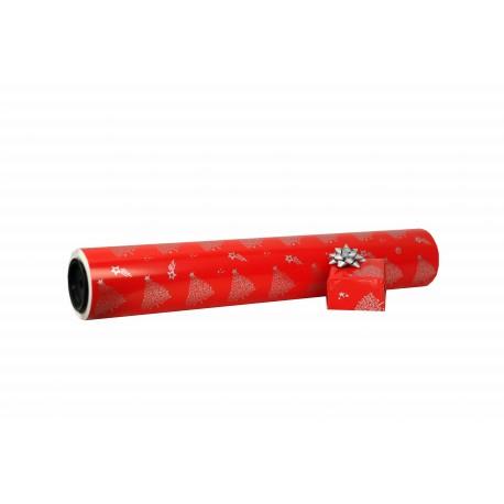 Papel de regalo estampado motivos navideños plata fondo rojo 62cm