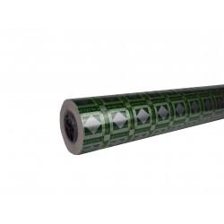 Papel de regalo estampado plata fondo verde 62cm