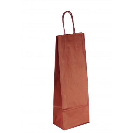 Bolsa de papel asa rizada para botellas granate 36x13+8.5cm