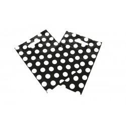 Bolsas de plástico asa troquelada lunares fondo negro 25x35cm