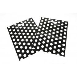 Bolsas de plástico asa troquelada lunares fondo negro 35x45cm