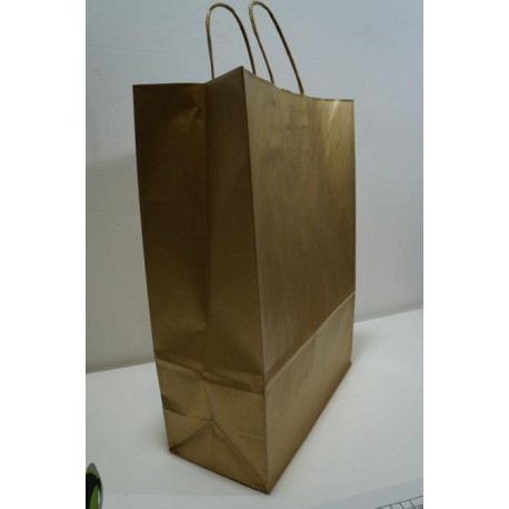 Bolsa de papel con asa rizada oro 27x12x37cm