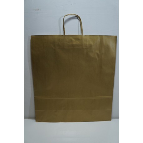 Bolsa de papel celulosa asa rizada oro 45x49x15cm