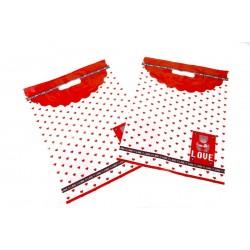 Bolsas de plástico asa troquelada estampado osito corazones rojos 35x45cm