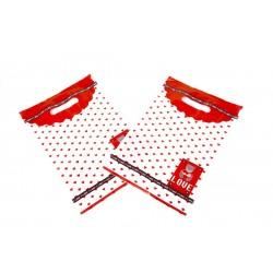 Bolsas de plástico asa troquelada estampado osito corazones rojos 25x35cm