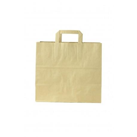 Bolsa de papel asa plana tostado 29x32x16cm