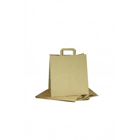Bolsa de papel kraft asa plana tostado 34x32x16cm