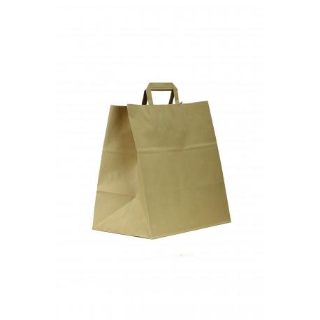 Bolsa de papel con asa plana havana take away34x32x16cm