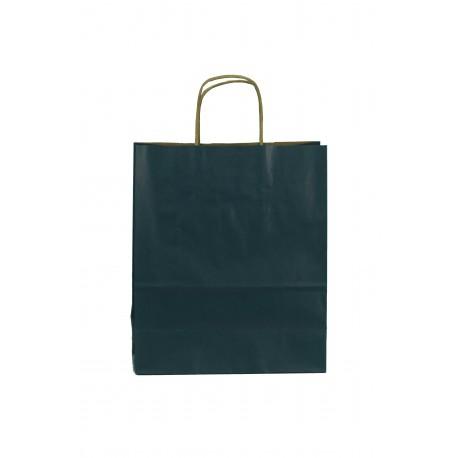 Bolsa de papel con asa rizada azul oscuro 26x22x10cm