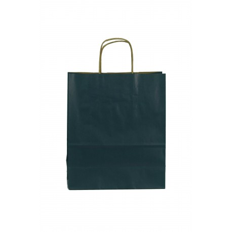 Bolsa de papel kraft asa rizada azul oscuro 26x22x10cm