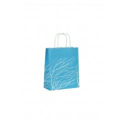 Bolsa de papel asa rizada azul estampado ramas 22x10x27cm
