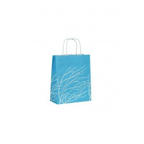 Bolsa de papel con asa rizada azul estampado ramas 22x10x27cm