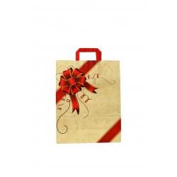 Bolsa de papel asa plana beige estampado lazo rojo 32x13x41cm