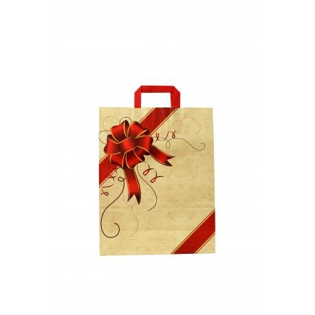 Bolsa de papel con asa plana beige estampado lazo rojo 32x13x41cm