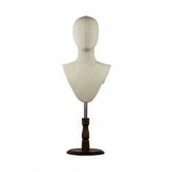 Cabeza de mujer en tela beige con baze regulable de madera