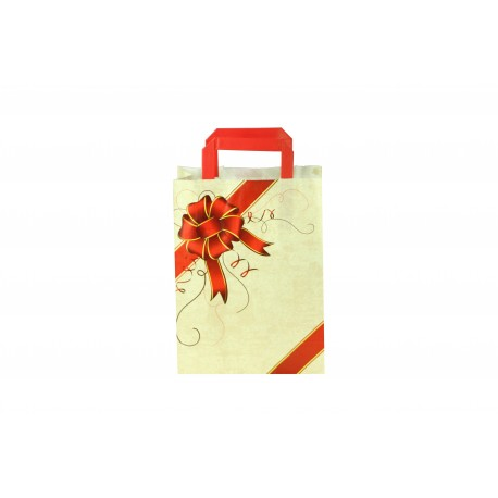 Bolsa de papel con asa plana beige estampado lazo rojo 29x22x10cm