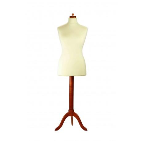 Busto de mujer tela beige pie de madera