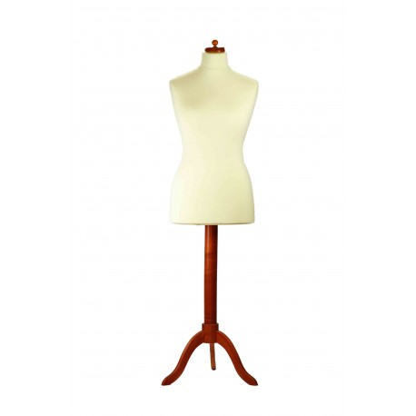 BUSTO REGULABLE DE MUJER BEIGE, MADERA CEREZO