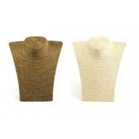 Expositor para collares revestido cuerda beige 23x20x11cm