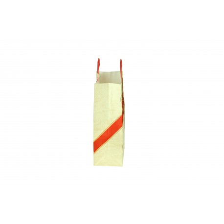 Bolsa de papel asa plana beige estampado lazo rojo 29x22x10cm