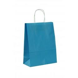 Bolsa de papel celulosa asa rizada azul claro 29x10x22cm