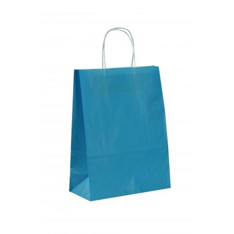 Bolsa de papel con asa rizada azul claro 29x10x22cm