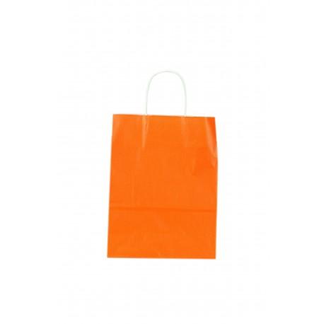 Bolsa de papel con asa rizada naranja 45x15x49cm
