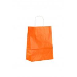 Bolsa de papel con asa rizada naranja 22x29x10cm
