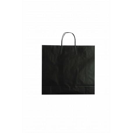 Bolsa de papel con asa rizada negro 27x12x37cm