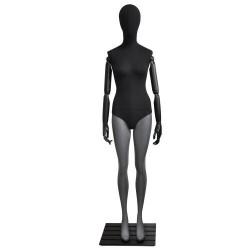 Maniquí de mujer fibra vídrio y tela negro/gris mate