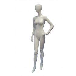 Maniquí de mujer fibra vídrio blanco mate sin facciones