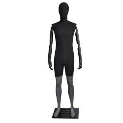 Maniquí de hombre color gris y tela negra con brazos articulables