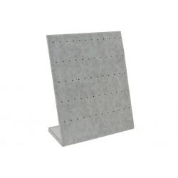 Expositor de pendientes forma L en terciopelo gris 25x20 cm
